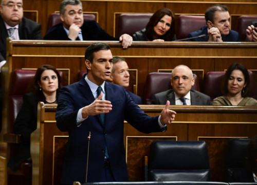 Pedro Sánchez during the congressional debate on January 5, 2019 (by Jordi Vidal)